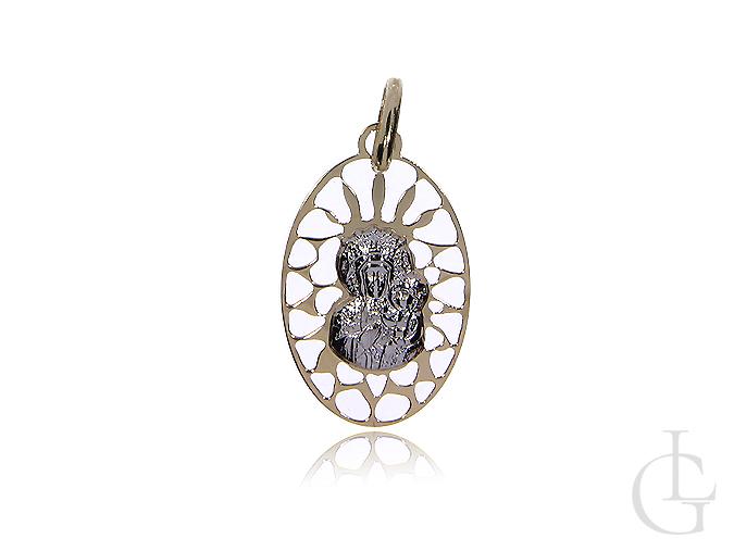 Medalik żółte i białe złoto pr. 0,585 z Matką Boską Częstochowską