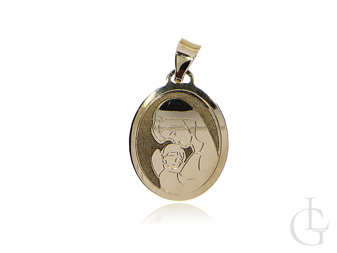 Medalik z Matką Bożą i Dzieciątkiem złoto pr.0,585