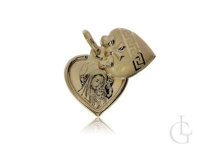 Medalik otwierany ze złota pr.0,585 w kształcie serduszka z wizerunkiem Matki Bożej z Dzieciątkiem
