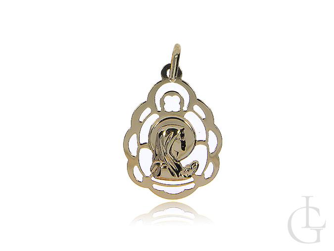 Medalik z klasycznego złota pr.0,585 z Matką Bożą
