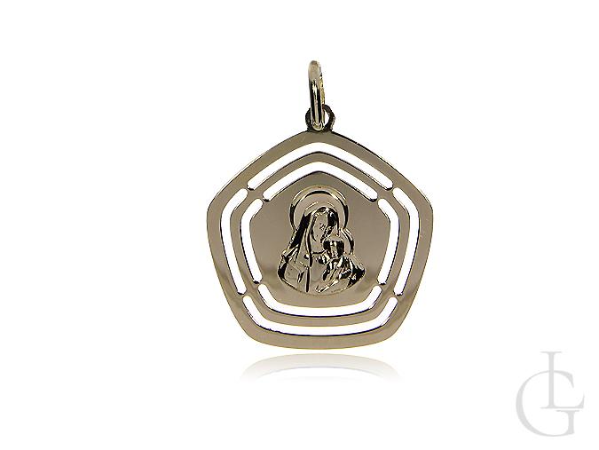 Medalik złoty pr.0,585 z Matką Bożą i dzieciątkiem Jezus