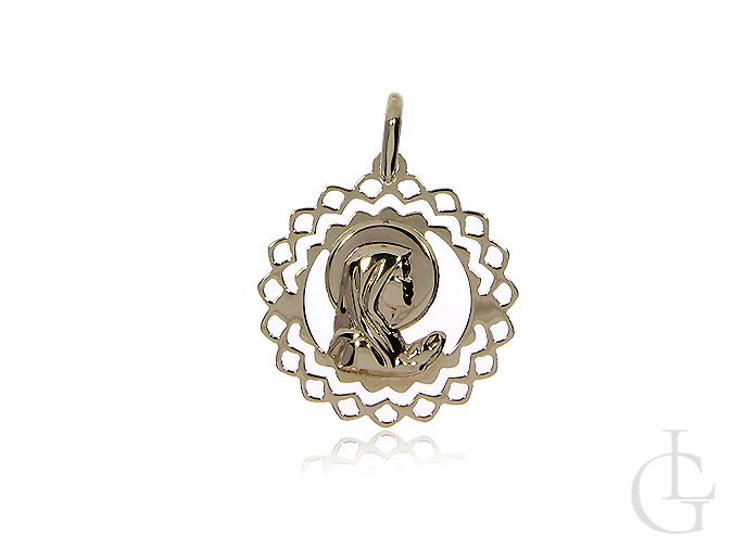 Medalik z klasycznego złota pr.0, 585 z Matką Bożą modlącą się z ażurowym wykończeniem