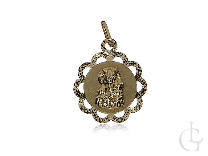 Medalik złoty pr.0,585 z Matką Bożą i Dzieciątkiem