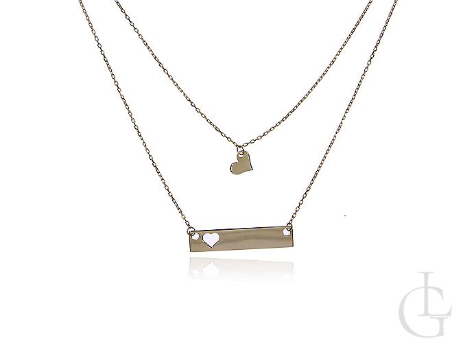Podwójny naszyjnik- celebrytka z blaszką do graweru i serduszkiem złoto pr.0,585