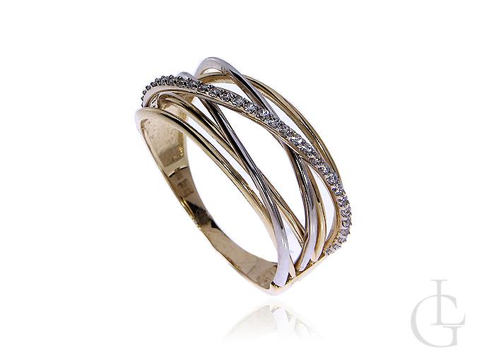 Złoty pierścionek pr.0,585 z cyrkoniami
