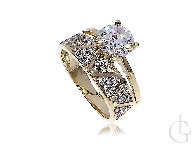Ekskluzywny złoty pierścionek obrączka wysadzany cyrkoniami