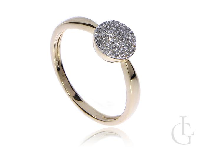 Złoty pierścionek pr.0,585 na zaręczyny z diamentami