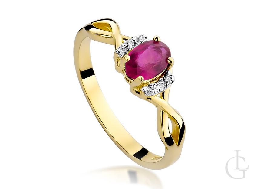 Pierścionek ze złota 14 k z rubinem i brylantami na zaręczyny