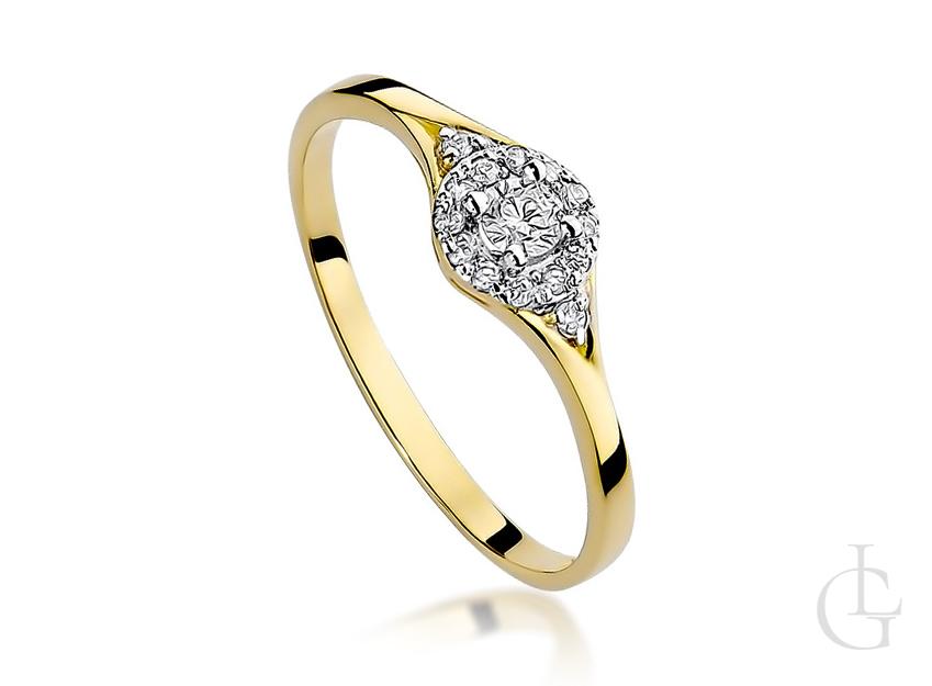 Złoty pierścionek zaręczynowy z żółtego złota pr.0,585 z brylantami