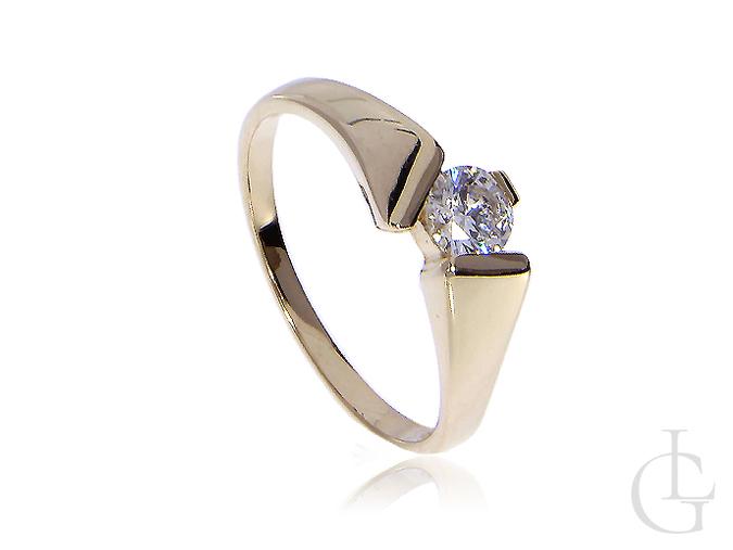 Złoty pierścionek na zaręczyny złoto żółte 14K 0.585