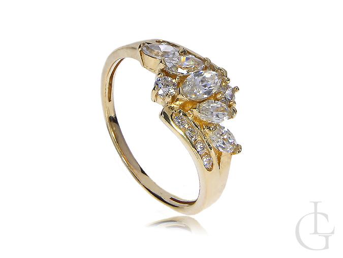 Złoty pierścionek zaręczynowy złoto żółte 14ct 0.585 cyrkonie