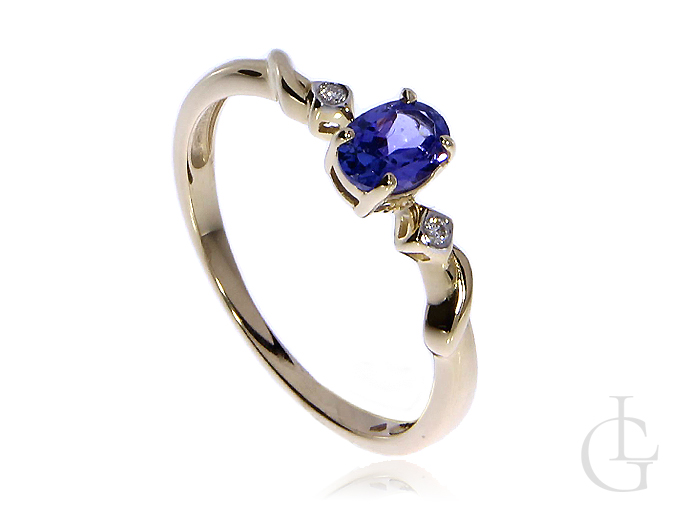 Złoty pierścionek zaręczynowy pr.0,585 z tanzanitem i brylantami