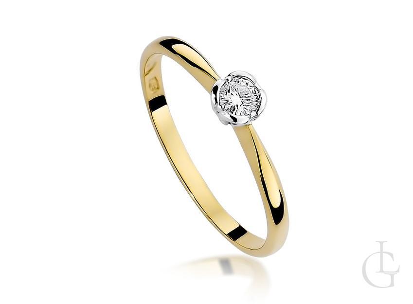 Pierścionek ze złota na zaręczyny z diamentem