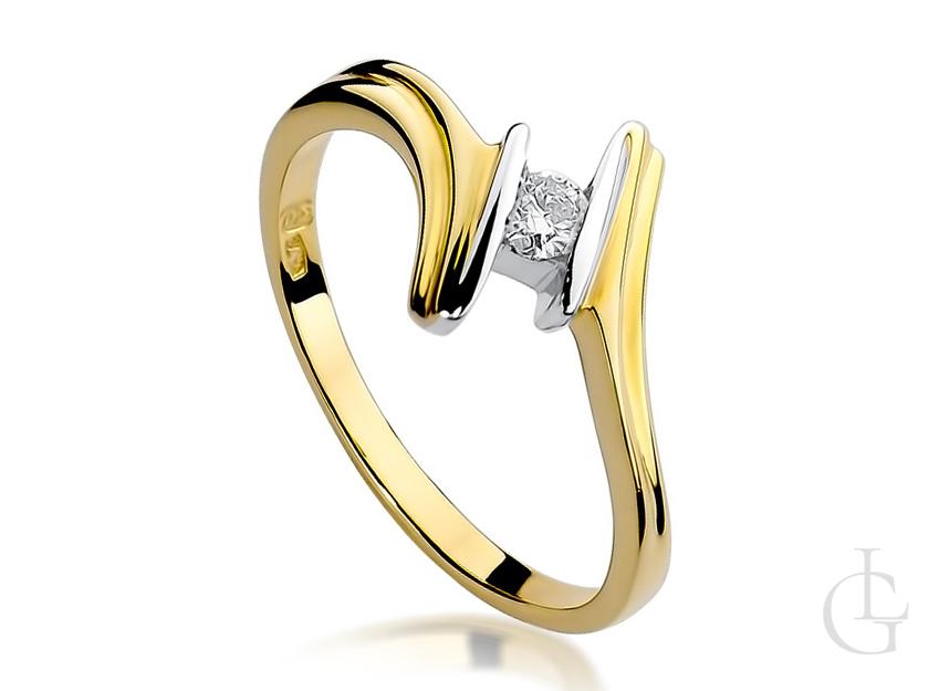 Pierścionek zaręczynowy z diamentem złoty nowoczesny wzór