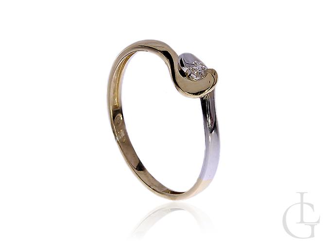 Pierścionek ze złota pr.0,585 na zaręczyny z diamentem