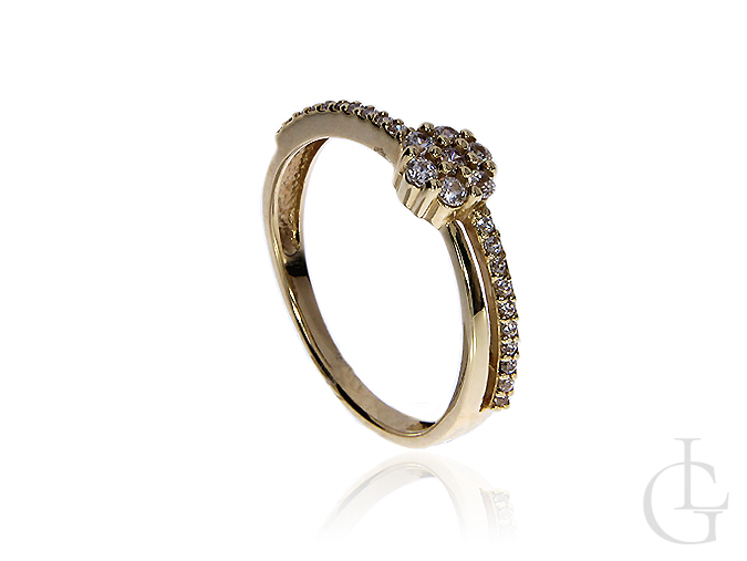 Pierścionek złoty pr.0,585 na zaręczyny z cyrkoniami