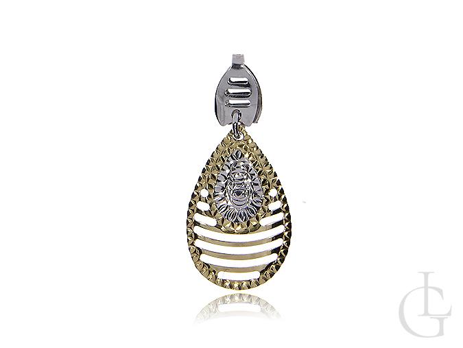 Przywieszka do łańcuszka z klasycznego i białego diamentowanego złota pr.0,585 na prezent