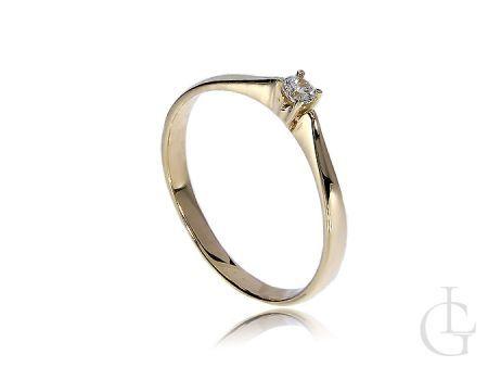 Pierścionek zaręczynowy złoty klasyczny z kamieniem