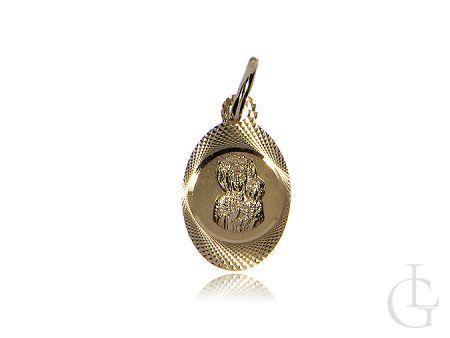 Złoty owalny medalik pr.0,585 z Matką Boską i Jezusem