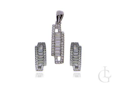 Biżuteria damska srebro rodowane pr.0,925 kolczyki przywieszka z cyrkoniami