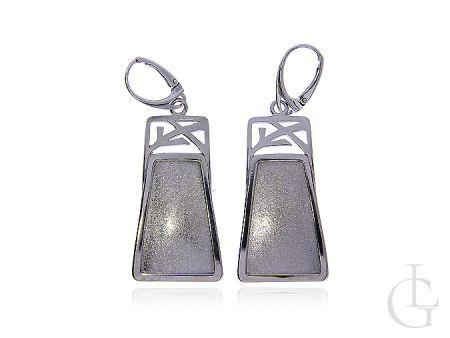 Kolczyki ze srebra rodowanego pr.0,925 z piaskowanym wykończeniem