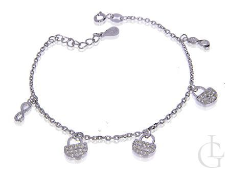 Bransoletka łańcuszkowa celebrytka choker ze srebra rodowanego pr.0,925 z wiszącymi torebkami i znakiem nieskończoności