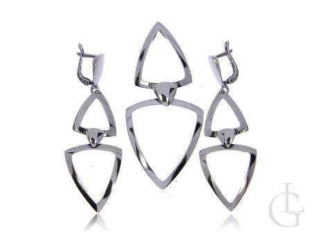 Komplet biżuterii srebro rodowane pr.0,925 wiszące kolczyki wisior
