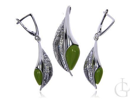 Wiszące kolczyki i wisior ze srebra pr.0,925 z zieloną masą perłową