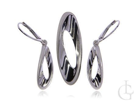Biżuteria ze srebra rodowanego pr,0,925 kolczyki zawieszka z satynowym wykończeniem