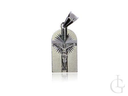 Medlik, blaszka ze srebra rodowanego pr.0,925 z wizerunkiem Jezusa ukrzyżowanego