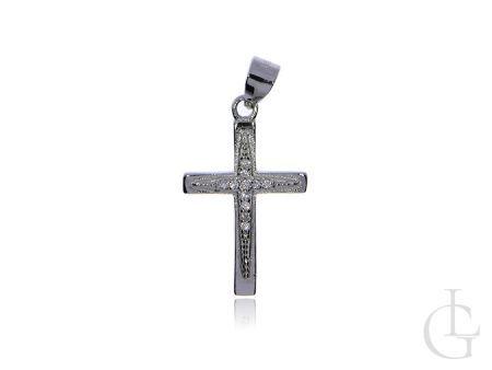 Krzyżyk z cyrkoniami srebro rodowane pr.0,925 na prezent