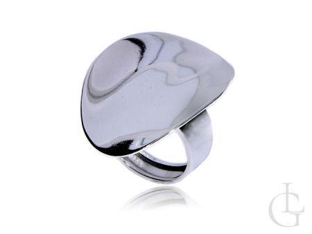 Ciekawy i oryginalny pierścionek ze srebra pr.0,925 z owalną blaszką