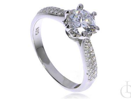 Przepiękny pierścionek ze srebra rodowanego pr.0,925 z cyrkoniami