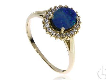 Złoty pierścionek na zaręczyny z opalem naturalnym złoto 14K