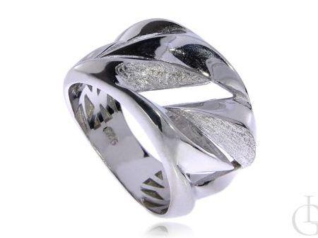 Szeroki pierścionek obrączka srebro rodowane pr.0,925 z satynowym wykończeniem