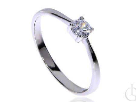Delikatny pierścionek srebro rodowane pr.0,925 z cyrkonią