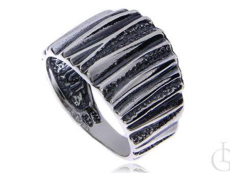 Szeroki pierścionek srebro rodowane pr.0,925 z oksydą