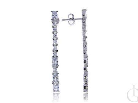 Wiszące kolczyki ze srebra rodowanego pr.0,925 z cyrkoniami wkręty