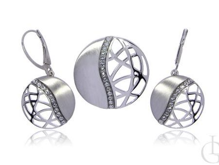 Komplet biżuterii ze srebra rodowanego pr.0,925 z cyrkoniami