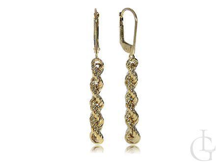 Kolczyki złote długie wiszące łańcuszek złoto 14K