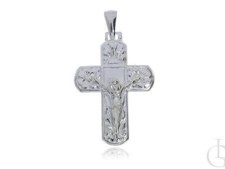 Srebrny krzyżyk pr.0,925 z wizerunkiem Jezusa zdobiony