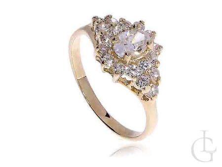 Pierścionek złoty zaręczynowy wysadzany cyrkoniami