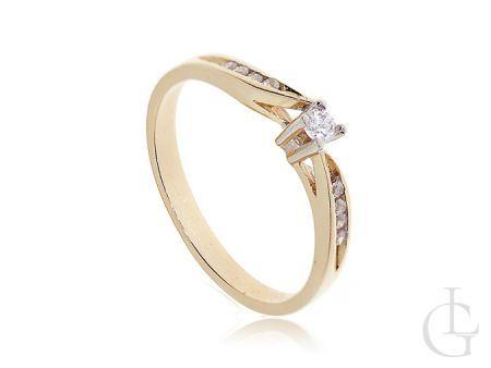Złoty pierścionek klasyczny zaręczynowy z cyrkoniami