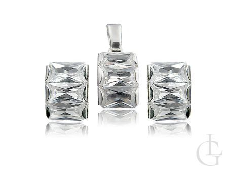 Srebrny komplet biżuterii z cyrkoniami klasycznymi