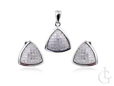 Srebrny komplet biżuterii - kolczyki i zawieszka