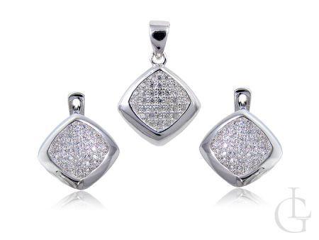 Srebrny komplet biżuterii wysadzanej drobnymi cyrkoniami
