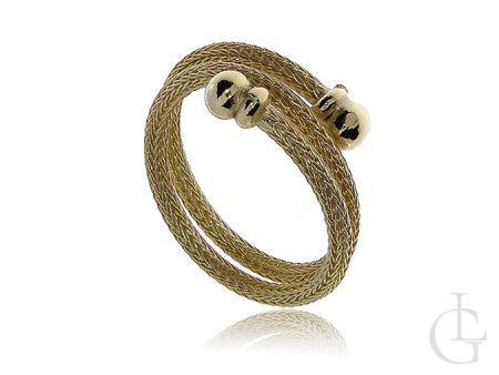 Srebrny pozłacany pierścionek nowoczesny