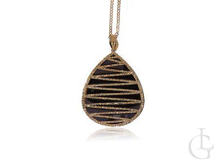 Srebrny naszyjnik z ażurowym pozłacanym elementem i łańcuszkiem