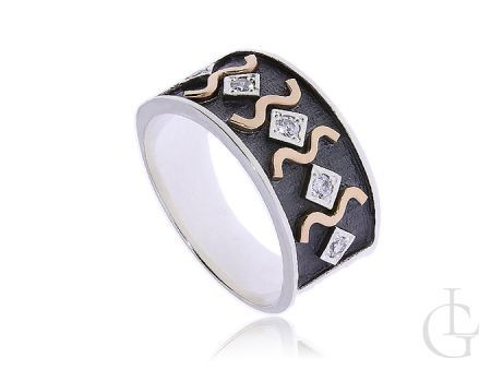 Pierścionek srebrny ze złotem