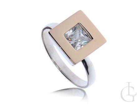 Pierścionek zaręczynowy srebrny ze złotem